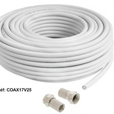 Câble coaxial  17 vatc class A , 25m + 2 fiches F à visser